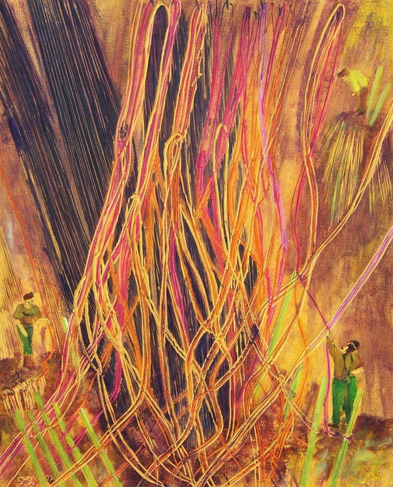 W-Fadenspiele-II-2017-45-x-36-cm-ger-Linoleum-Alkydfarbe